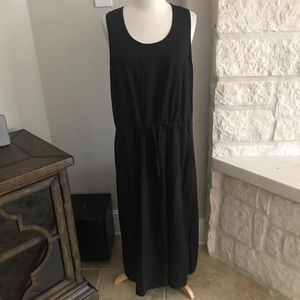 Eileen Fisher Linen Tank Dress Cinch Waist Pockets